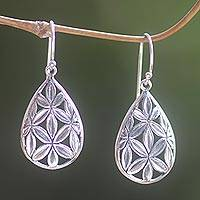 Sterling silver dangle earrings, 'Bamboo Canopy' - Hand Made Sterling Silver Dangle Earrings Leaf Indonesia
