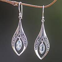 Blue topaz dangle earrings, 'Blue Teardrops' - Sterling Silver Blue Topaz Dangle Earrings Indonesia