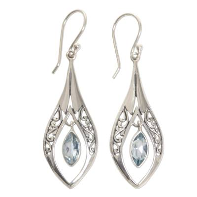 Sterling Silver Blue Topaz Dangle Earrings Indonesia