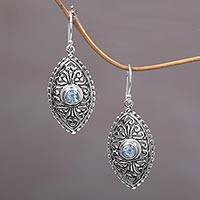 Blue topaz dangle earrings, 'Wonderful Bali in Blue' - Ornate Balinese Handcrafted Silver Earrings with Blue Topaz