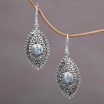 Blue Topaz Dangle Earrings Wonderful Bali In Ornate Balinese Handcrafted Silver