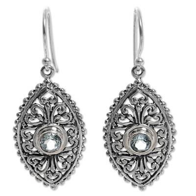 Ornate Balinese Handcrafted Silver Earrings with Blue Topaz