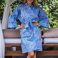 Short cotton robe, 'Pebbles in a River'