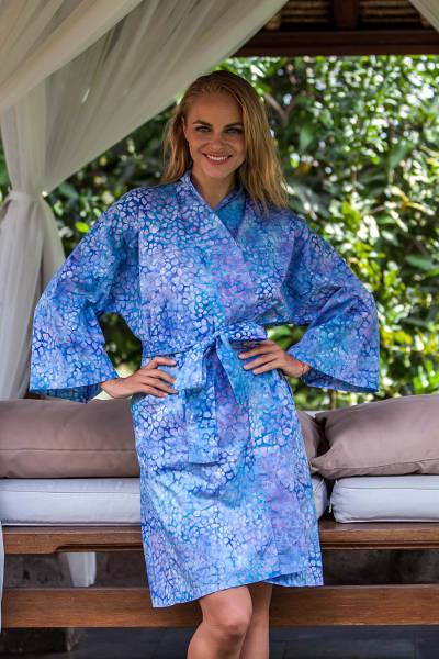 Short cotton robe, 'Pebbles in a River' - Short Cotton Batik Robe of Vibrant Blue and Rosy Hues