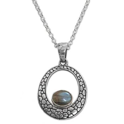 Sterling Silver Labradorite Pendant Necklace from Indonesia