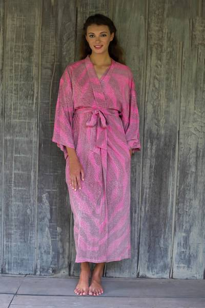 050f88c25d 100% Rayon Light Pink Coral Reef Tie-Dye Robe from Indonesia - Coral ...
