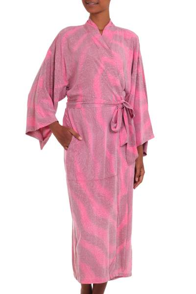 100% Rayon Light Pink Coral Reef Tie-Dye Robe from Indonesia