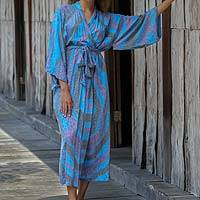 Rayon robe, 'Ocean Reef' - Women's Blue 100% Rayon Robe from Indonesia