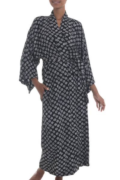 Black and White Rayon Robe from Indonesia