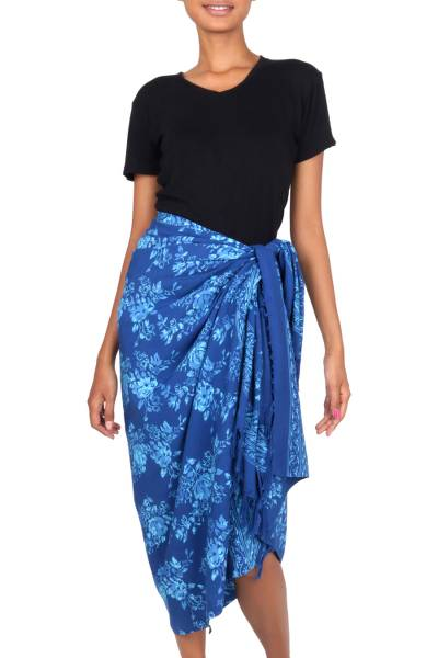 Hand Stamped Blue Batik Sarong in 100% Rayon