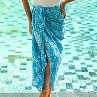 Rayon batik sarong, 'Tropical Garden in Cerulean' - Cerulean Blue Rayon Batik Sarong with Fringed Ends