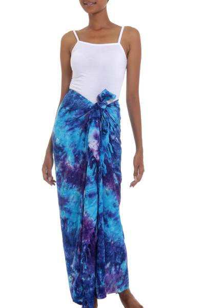Rayon Tied Dyed Sarong in Assorted Shades of Blue and Purple