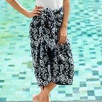Rayon batik sarong, 'Tropical Garden in Black' - Black and White Rayon Sarong with Floral Batik Motifs