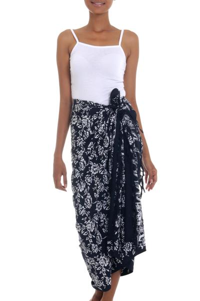 Black and White Rayon Sarong with Floral Batik Motifs