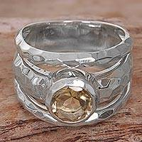 Citrine cocktail ring, 'Yellow Mosaic' - Sterling Silver Yellow Citrine Cocktail Ring from Indonesia
