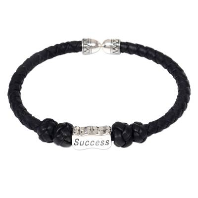 Leather and sterling silver cuff bracelet, 'Success Charm' - Indonesian Leather Braided Bracelet with Success Pendant