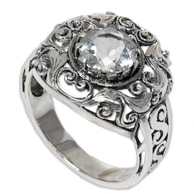 Blue Topaz Sterling Silver Ring Handmade in Indonesia
