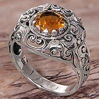 Citrine cocktail ring, 'Golden Dream' - Citrine Sterling Silver Ring Handmade in Indonesia