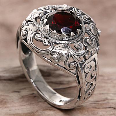 Novica Garnet cocktail ring, Crimson Dream