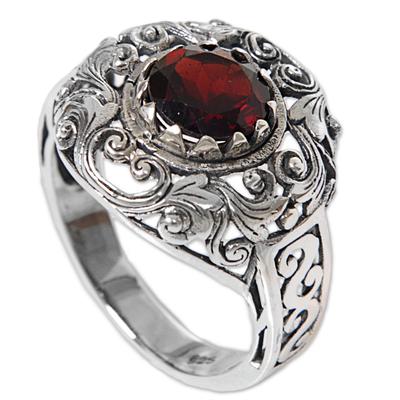 Garnet cocktail ring, 'Crimson Dream' - Garnet Sterling Silver Ring Handmade in Indonesia