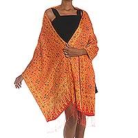 Silk shawl, 'Serene Garden'