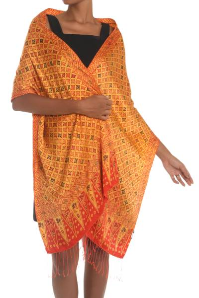 Silk shawl, 'Dimensions of Kawung' - Red, Yellow, and Brown Hand-Stamped Batik Silk Shawl