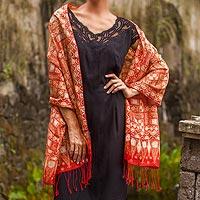 Batik silk shawl, 'Puzzling Parang' - Hand Stamped Batik Patterned Pure Silk Shawl