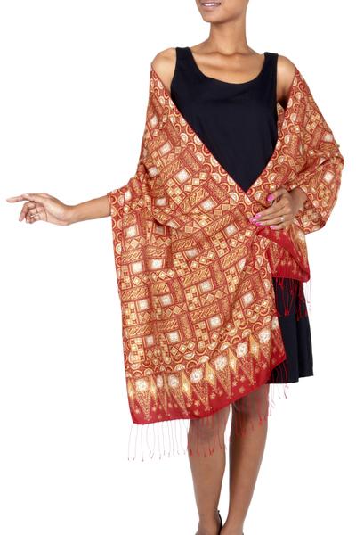 Hand Stamped Batik Patterned Pure Silk Shawl