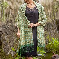 Silk batik shawl, 'Truntum Ijo' - Green Truntum Patterned 100% Silk Batik Shawl