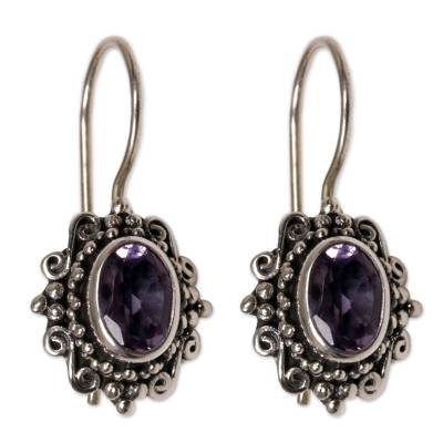 Hand Made Amethyst Sterling Silver Drop Earrings Indonesia