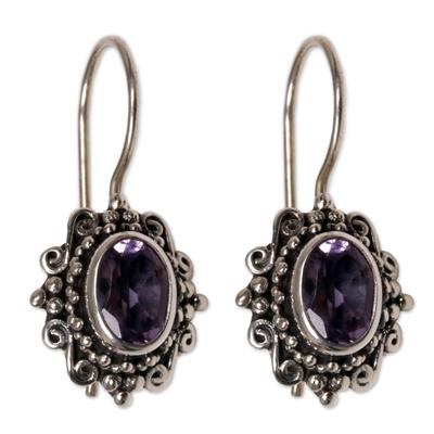 Amethyst drop earrings, 'Nature's Mirrors' - Hand Made Amethyst Sterling Silver Drop Earrings Indonesia