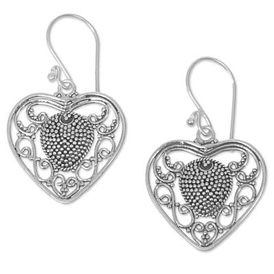 Sterling silver dangle earrings, 'Heart-Shaped Offering' - Sterling Silver Heart Dangle Earrings from Indonesia