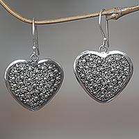 Sterling silver dangle earrings, 'Spangled Hearts'