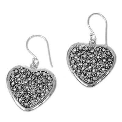 Sterling silver dangle earrings, 'Spangled Hearts' - Hand Made Sterling Silver Dangle Earrings Heart Indonesia