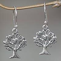 Sterling silver dangle earrings, 'Living Trees' - Hand Made Sterling Silver Dangle Earrings Tree Indonesia
