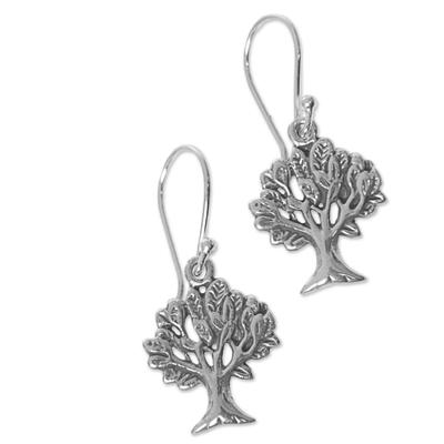 Sterling silver dangle earrings, 'Living Trees' - Hand Made Sterling Silver Dangle Earrings Tree Indonesia