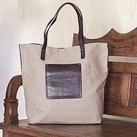 Cotton and leather accent tote bag, 'Smoky Brown' - Cotton Tote Bag with Leather Pocket and Handles