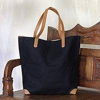 Cotton and leather accent tote bag, 'Classic Black' - Black Tote Shoulder Bag with Brown Leather Accents