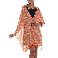 Silk batik shawl, 'Truntum Star' - Silk Shawl with Tangerine Truntum Motifs from Indonesia