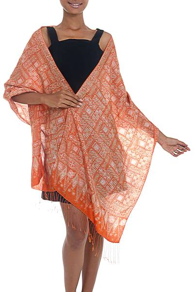 Silk batik shawl, 'Parang Puzzle' - Silk Shawl with Tangerine Geometric Motifs from Indonesia