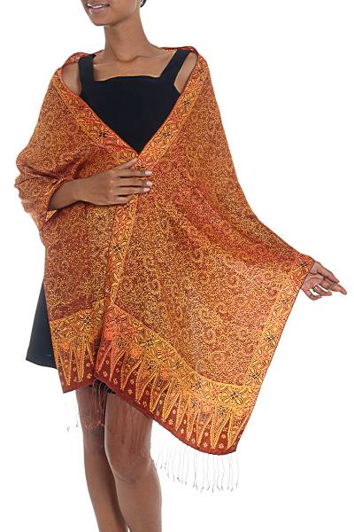 Silk batik shawl, 'Burnt Orange Flowers' - 100% Silk Batik Shawl in Burnt Orange from Indonesia