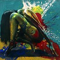 'Love in Shame' - Expressionist Painting of Shamed Female from Bali