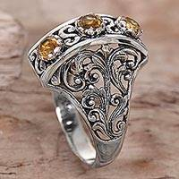 Citrine cocktail ring, 'Golden Triad' - Citrine and Sterling Silver Ring Hand Crafted in Indonesia