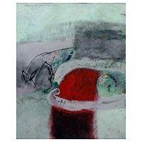 'Red Shadow' - Balinese Abstract Original Painting in Red and Aqua
