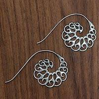 Sterling silver half-hoop earrings, 'Smoke Tendrils'