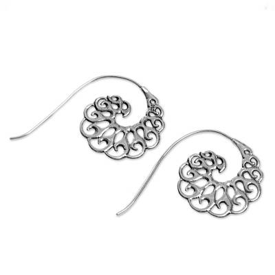 Sterling silver half-hoop earrings, 'Smoke Tendrils' - Sterling Silver Spiral Half-Hoop Earrings from Indonesia