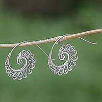 Sterling silver drop earrings, 'Peacock Lace' - Hand Made Sterling Silver Spiral Drop Earrings Indonesia