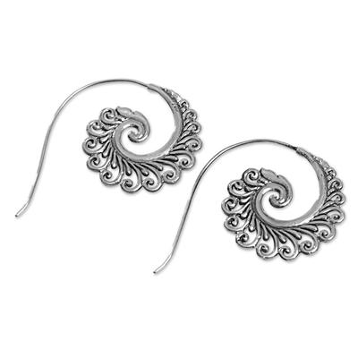 Sterling silver drop earrings, 'Peacock Lace' - Hand Made Sterling Silver Spiral Drop Earrings Indonesia