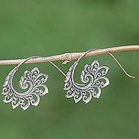 Sterling silver drop earrings, 'Spiral Buds'