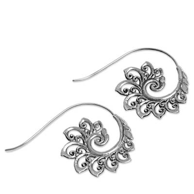 Sterling silver drop earrings, 'Spiral Buds' - Sterling Silver Drop Earrings Spiral Motif from Indonesia